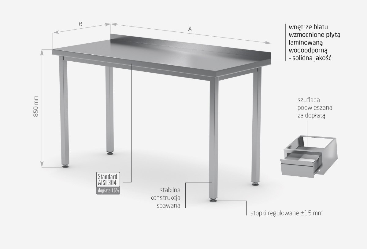 Stół przyścienny bez półki - POL-101