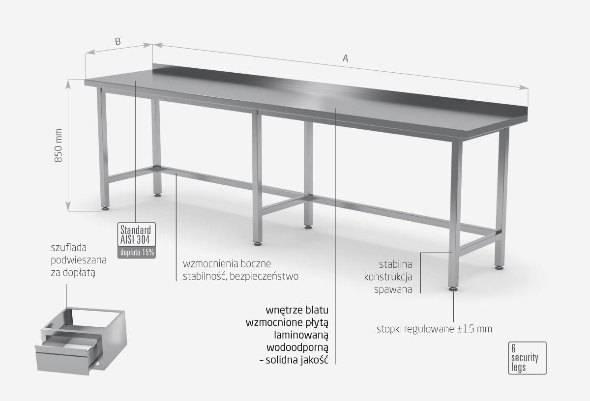 Stół przyścienny wzmocniony bez półki - POL-102-6