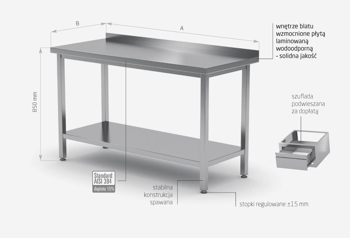Stół przyścienny z półką - POL-103