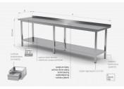 Stół przyścienny z półką - POL-103-6