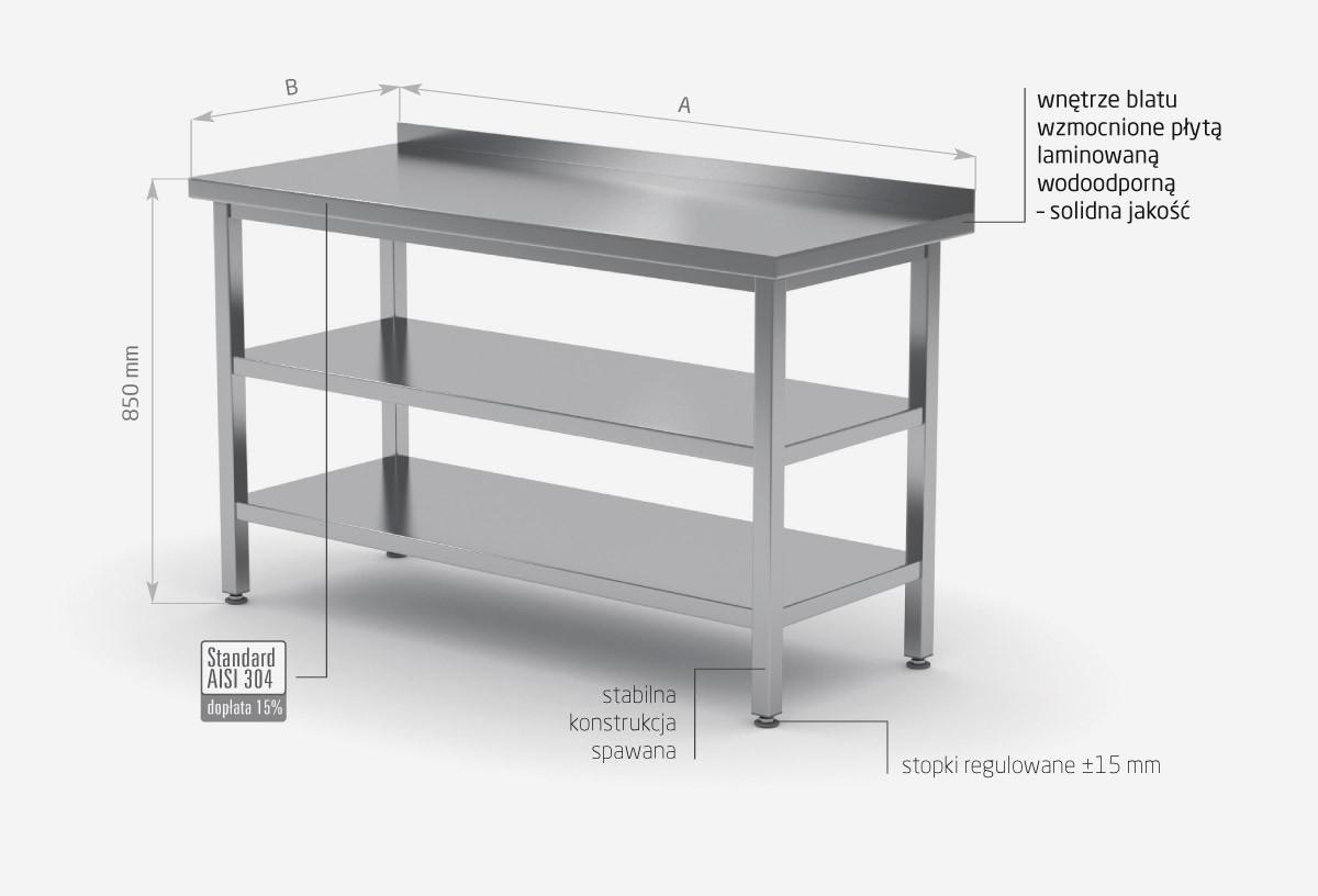 Stół przyścienny z dwiema półkami - POL-103/2