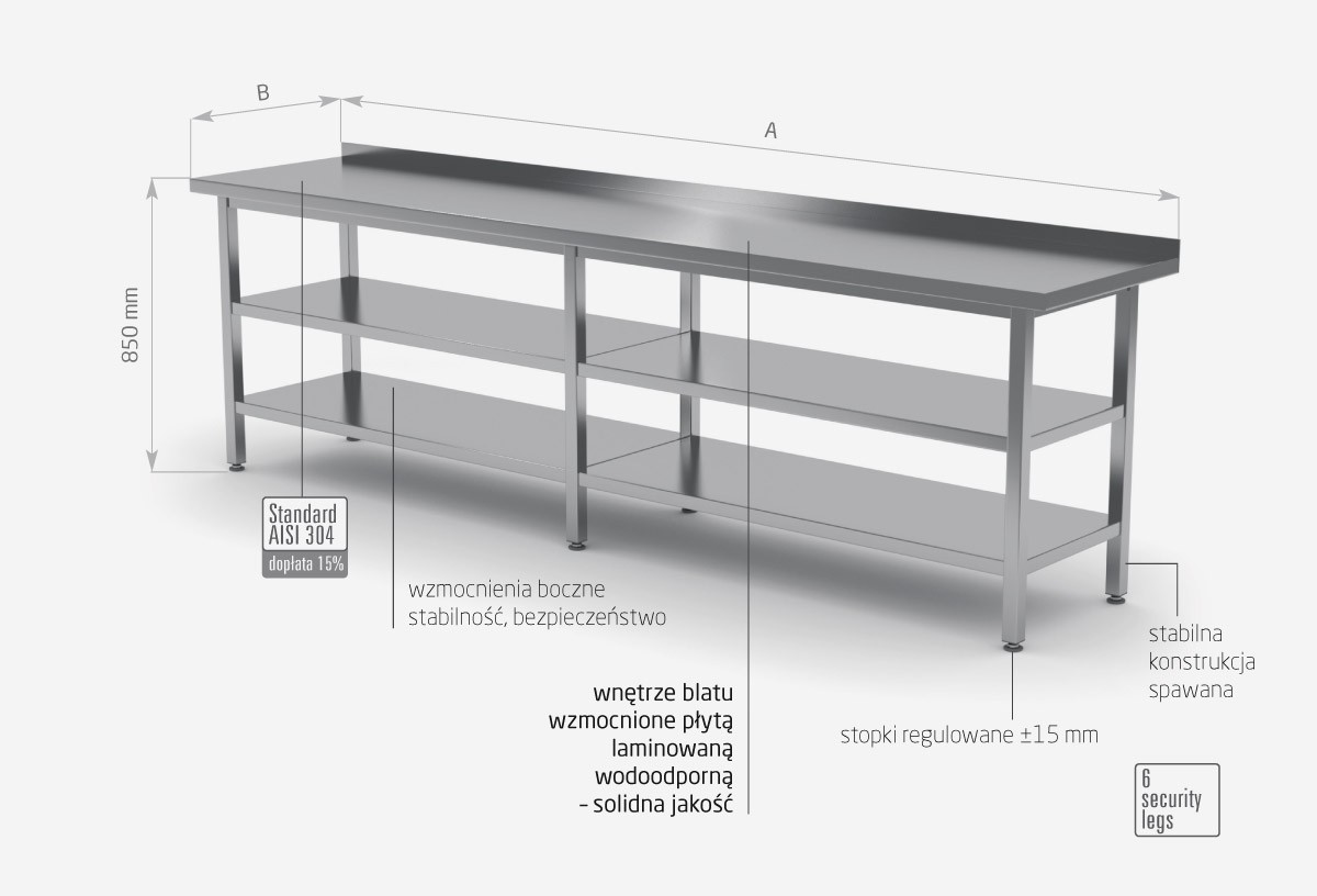 Stół przyścienny z dwiema półkami- POL-103/2-6