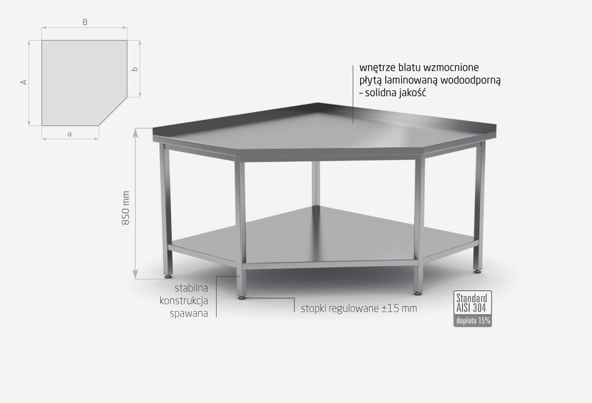 Stół przyścienny narożny z półką POL-105