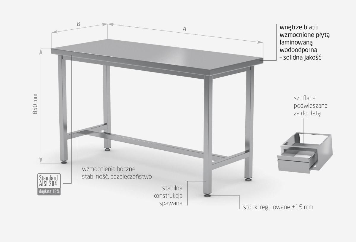 Stół centralny wzmocniony bez półki - POL-111