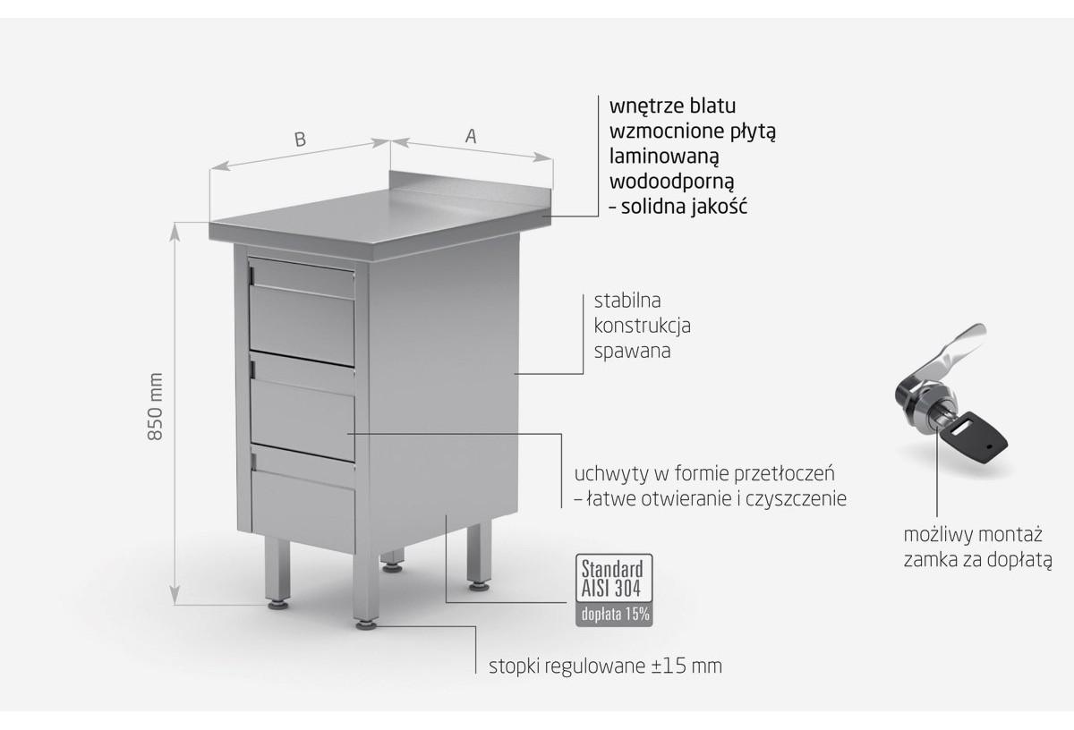 Stół przyścienny z trzema szufladami - POL-121-3