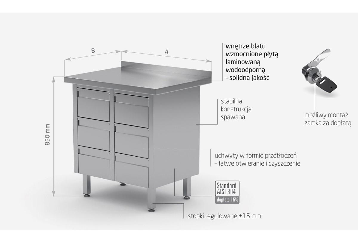 Stół przyścienny z sześcioma szufladami - POL-121-6