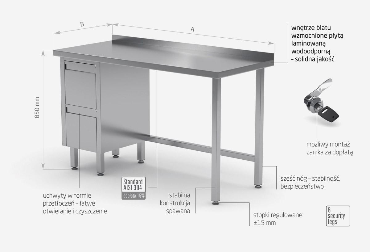 Stół przyścienny szafka z dwiema szufladami - szuflady po lewej stronie - POL-123-L