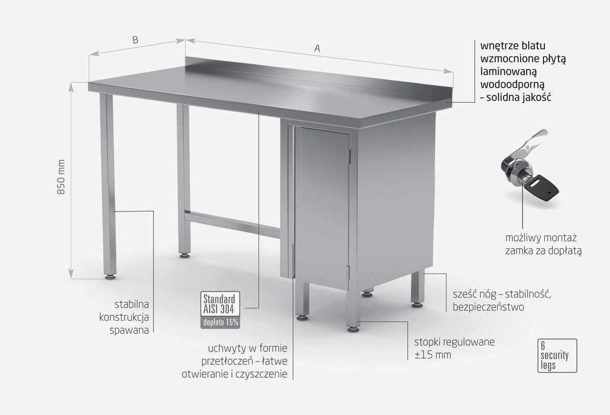 Stół przyścienny szafka z drzwiami na zawiasach - szafka po prawej stronie - POL-124-P