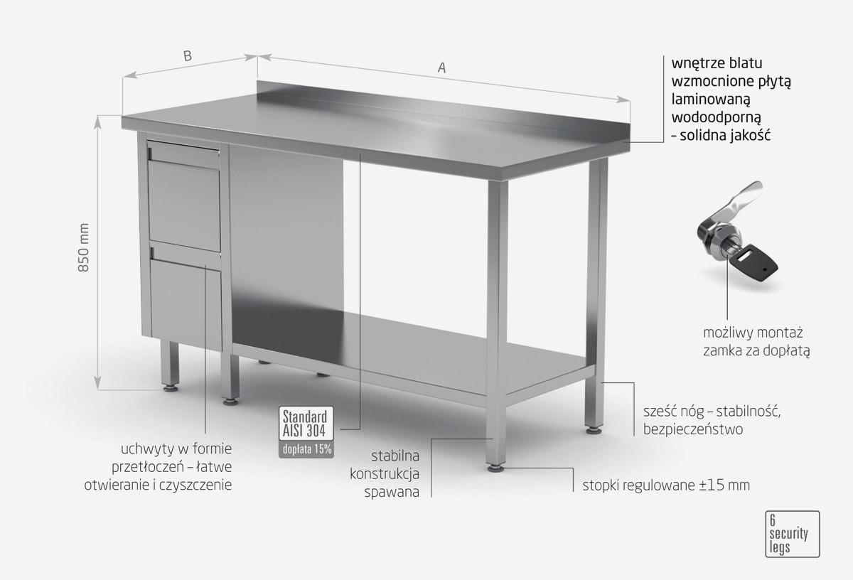 Stół przyścienny szafka z dwiema szufladami i półką - szuflady po lewej stronie - POL-125-L