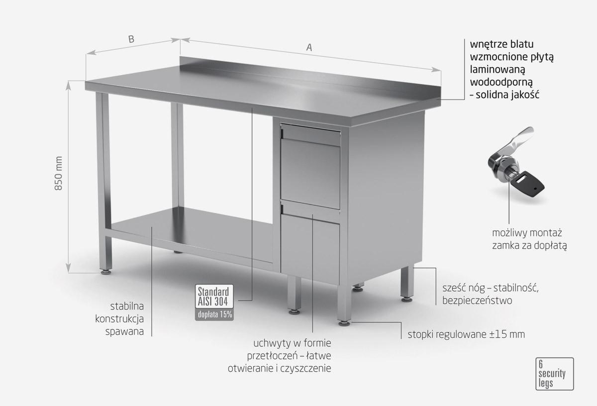 Stół przyścienny szafka z dwiema szufladami i półką - szuflady po prawej stronie - POL-125-P