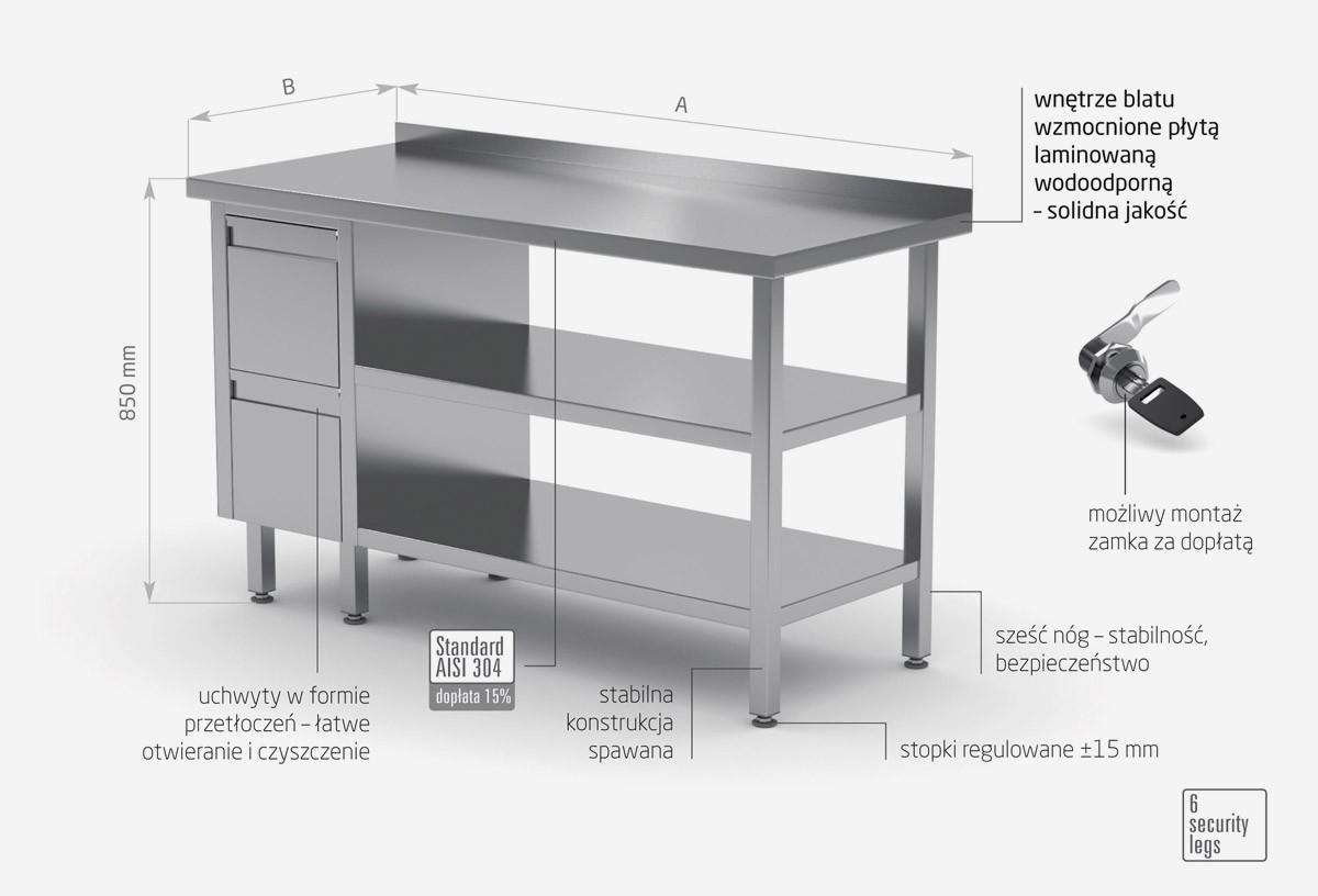 Stół przyścienny szafka z dwiema szufladami i dwiema półkami - szuflady po lewej stronie - POL-125-L/2