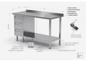 Stół przyścienny szafka z trzema szufladami i półką - szuflady po lewej stronie - POL-125-3-L