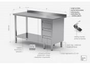 Stół przyścienny szafka z trzema szufladami i półką - szuflady po prawej stronie - POL-125-3-P
