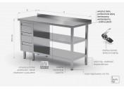 Stół przyścienny szafka z trzema szufladami i dwiema półkami - szuflady po lewej stronie - POL-125-3-L/2
