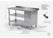 Stół przyścienny szafka z trzema szufladami i dwiema półkami - szuflady po prawej stronie - POL-125-3-P/2