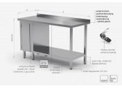 Stół przyścienny szafka z drzwiami na zawiasach i półką - szafka po lewej stronie - POL-126-L