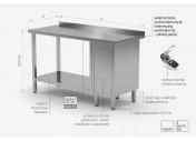 Stół przyścienny szafka z drzwiami na zawiasach i półką - szafka po prawej stronie - POL-126-P
