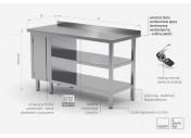 Stół przyścienny szafka z drzwiami na zawiasach i dwiema półkami - szafka po lewej stronie - POL-126-L/2