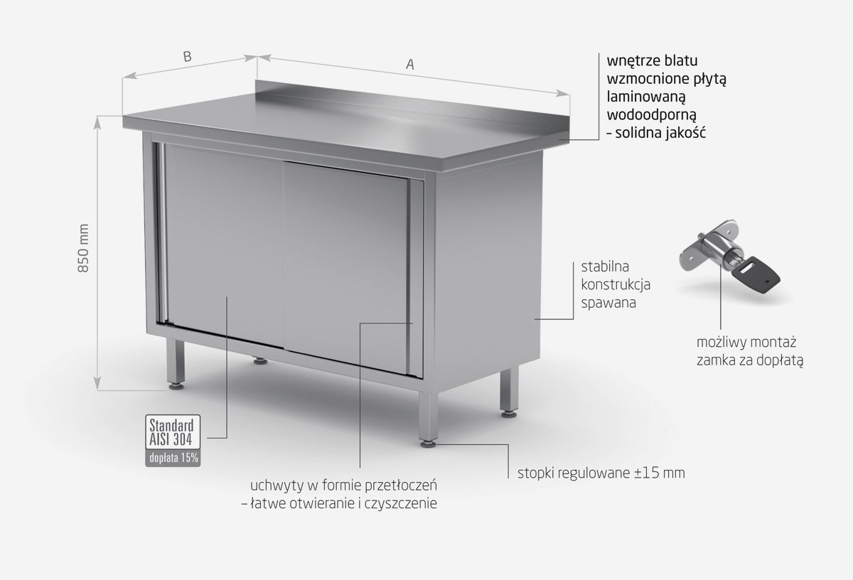 Stół przyścienny szafka z drzwiami suwanymi- POL-127