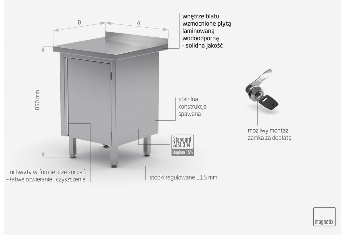 Stół przyścienny szafka z drzwiami na zawiasach - POL-128-1