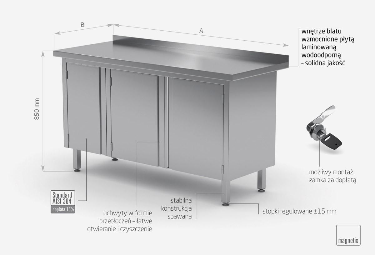 Stół przyścienny szafka z drzwiami na zawiasach - POL-128-3