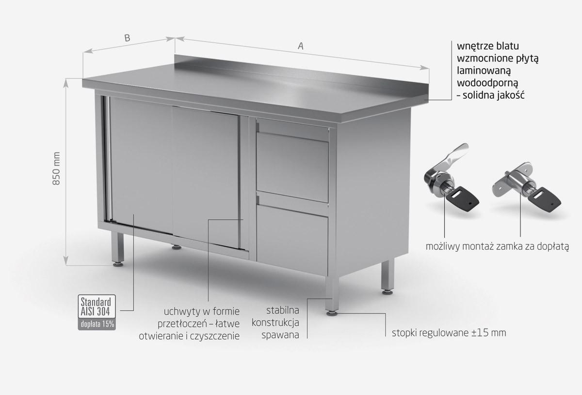 Stół przyścienny szafka z dwiema szufladami i drzwiami suwanymi - szuflady po prawej stronie - POL-130-P