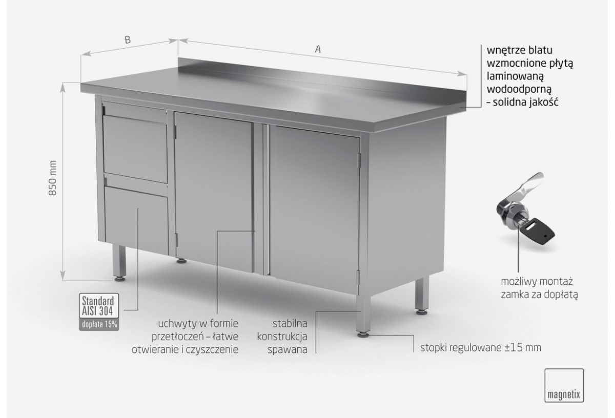 Stół przyścienny szafka z dwiema szufladami i drzwiami na zawiasach - szuflady po lewej stronie - POL-132-L
