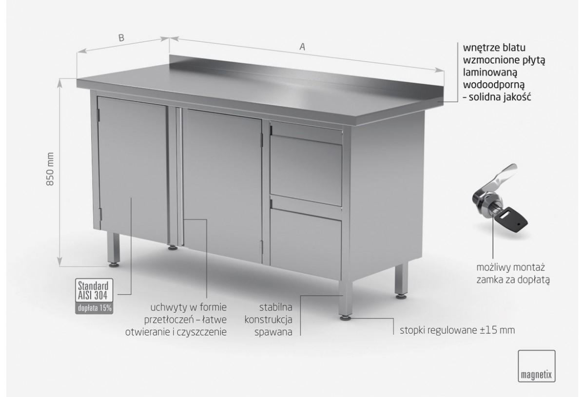 Stół przyścienny szafka z dwiema szufladami i drzwiami na zawiasach - szuflady po prawej stronie - POL-132-P