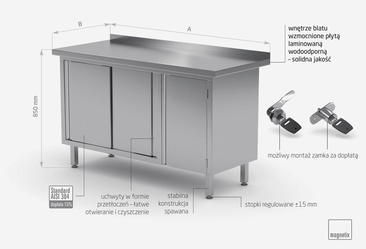 Stół przyścienny z szafką i drzwiami suwanymi - drzwi na zawiasach po prawej stronie - POL-134-P