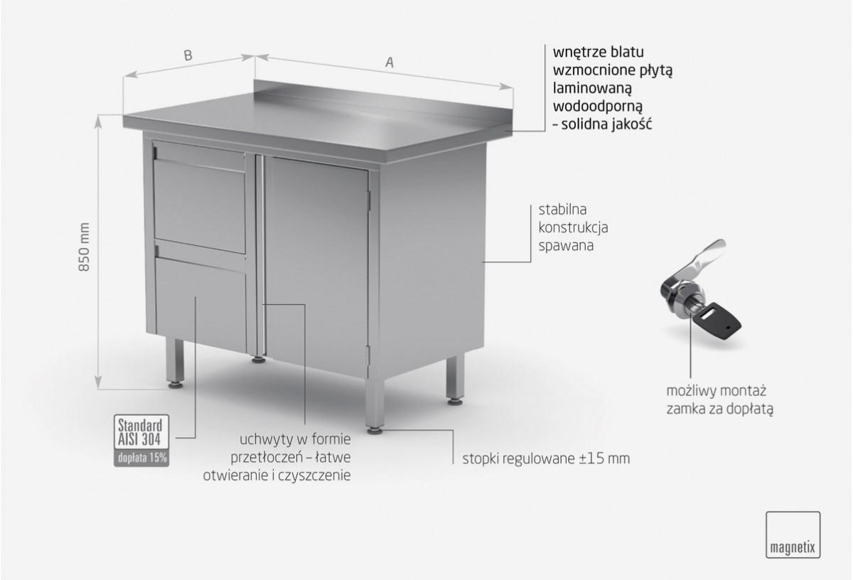 Stół przyścienny szafka z dwiema szufladami i drzwiami na zawiasach - szuflady po lewej stronie - POL-135-L