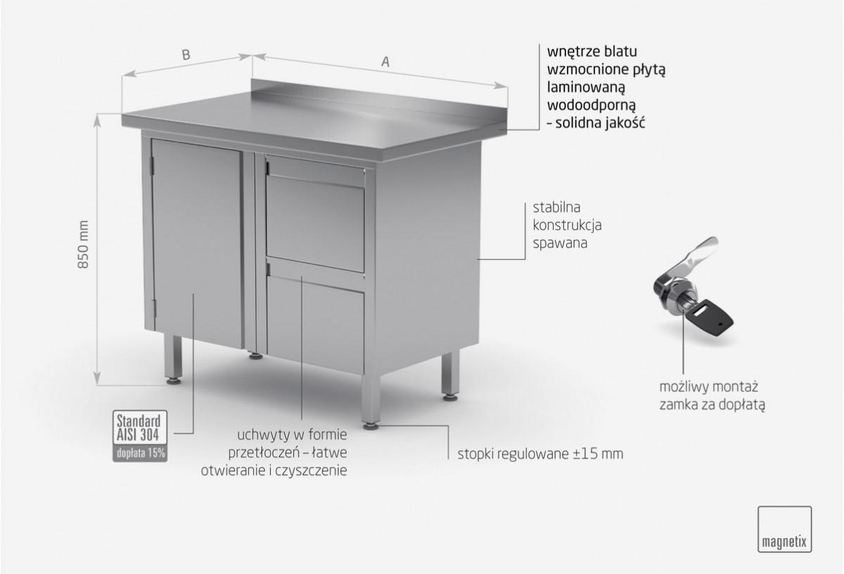 Stół przyścienny szafka z dwiema szufladami i drzwiami na zawiasach - szuflady po prawej stronie - POL-135-P