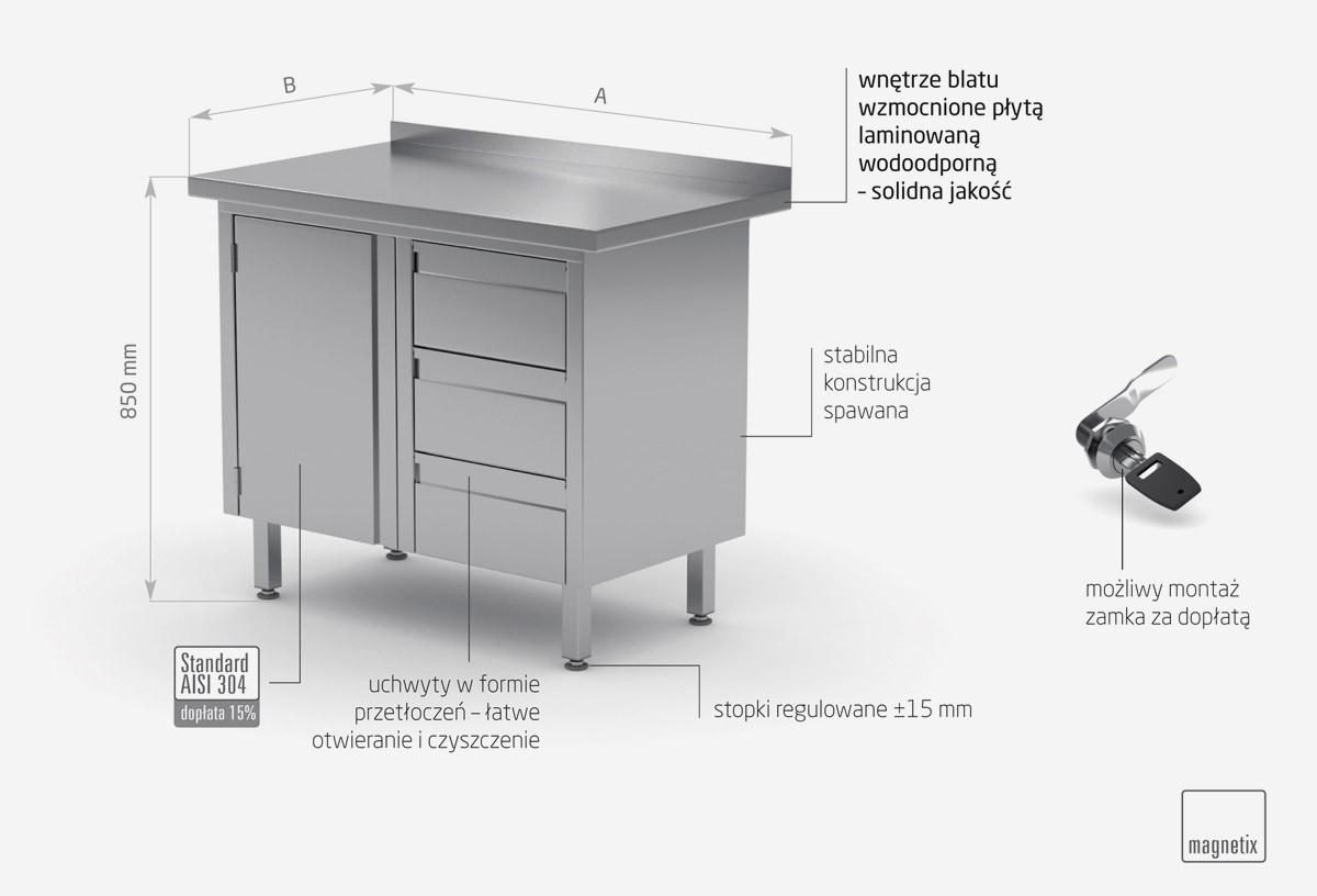 Stół przyścienny szafka z trzema szufladami i drzwiami na zawiasach - szuflady po prawej stronie - POL-136-3-P