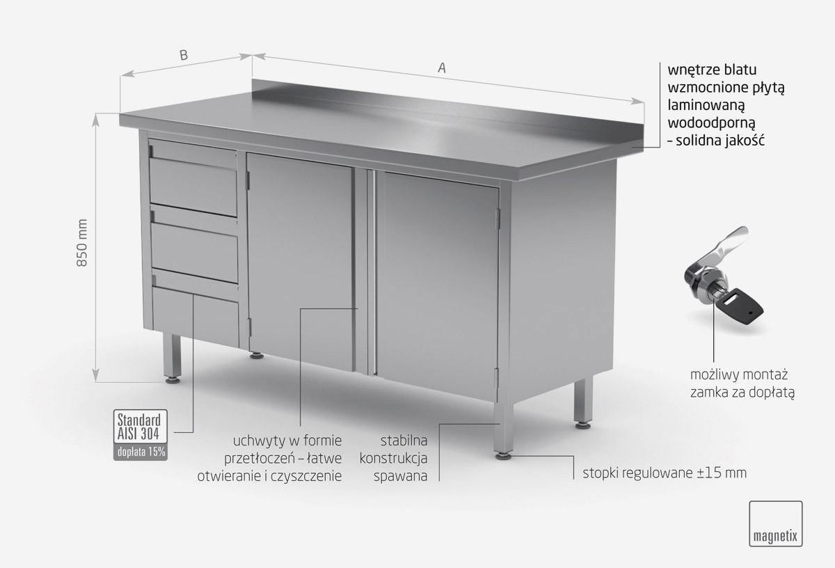 Stół przyścienny szafka z trzema szufladami i drzwiami na zawiasach - szuflady po lewej stronie - POL-137-L
