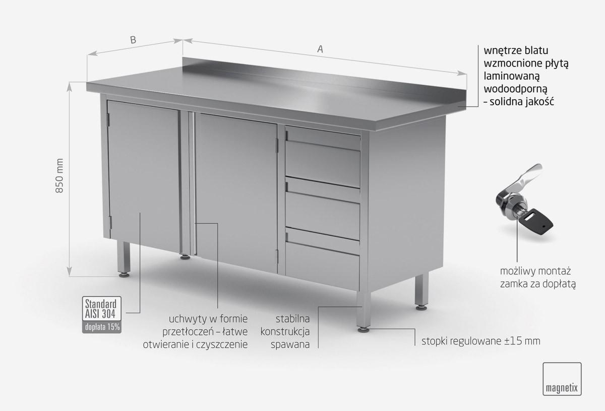 Stół przyścienny szafka z trzema szufladami i drzwiami na zawiasach - szuflady po prawej stronie - POL-137-P