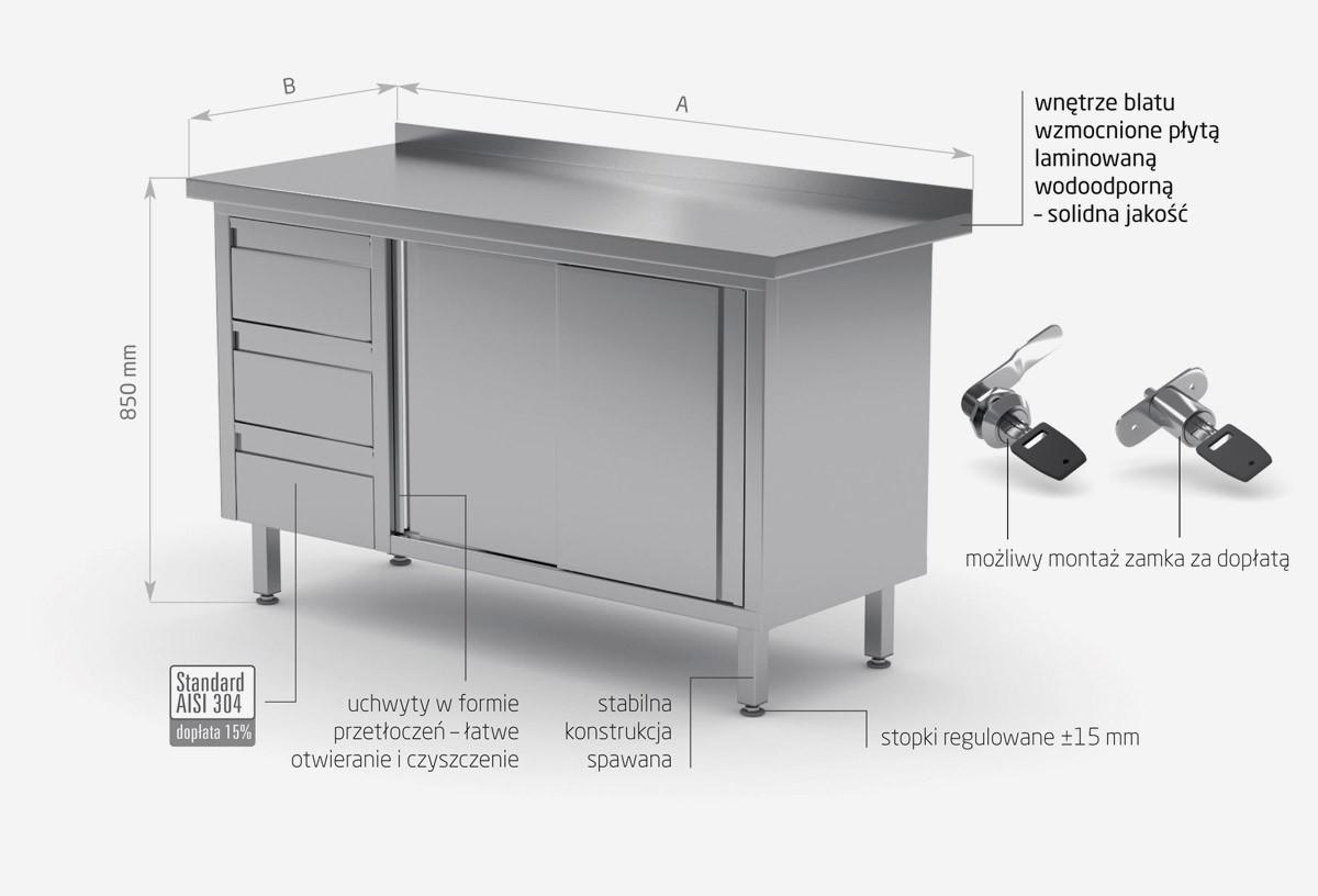 Stół przyścienny szafka z trzema szufladami i drzwiami suwanymi - szuflady po lewej stronie - POL-138-L