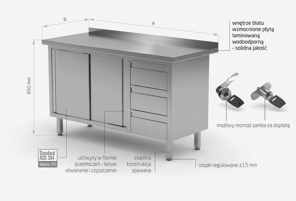 Stół przyścienny szafka z trzema szufladami i drzwiami suwanymi - szuflady po prawej stronie - POL-138-P