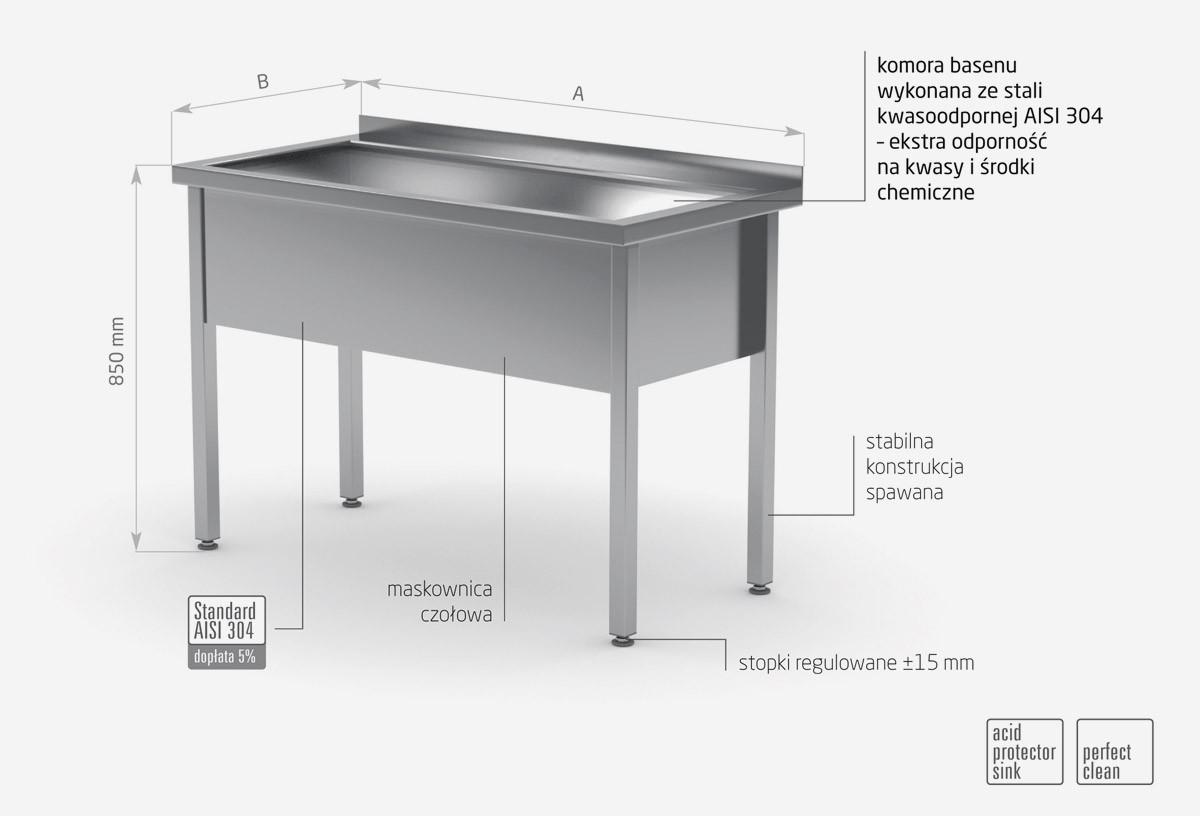 Stół z basenem jednokomorowym, wysokość komory 300 mm - POL-205/3