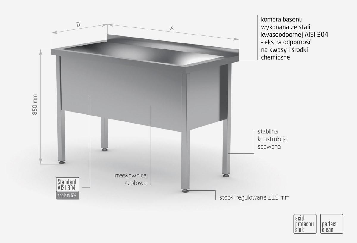 Stół z basenem jednokomorowym, wysokość komory 400 mm - POL-205/4
