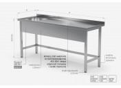 Stół ze zlewem wzmocniony bez półki - komora po lewej stronie - POL-210-L