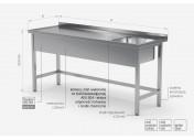 Stół ze zlewem wzmocniony bez półki - komora po prawej stronie - POL-210-P