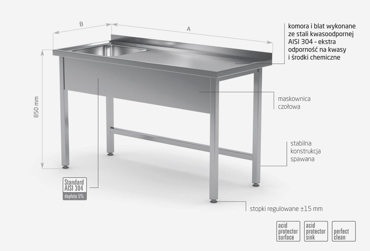Stół ze zlewem bez półki - komora po lewej stronie POL-211-L