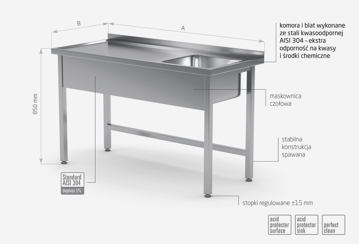 Stół ze zlewem bez półki - komora po prawej stronie - POL-211-P