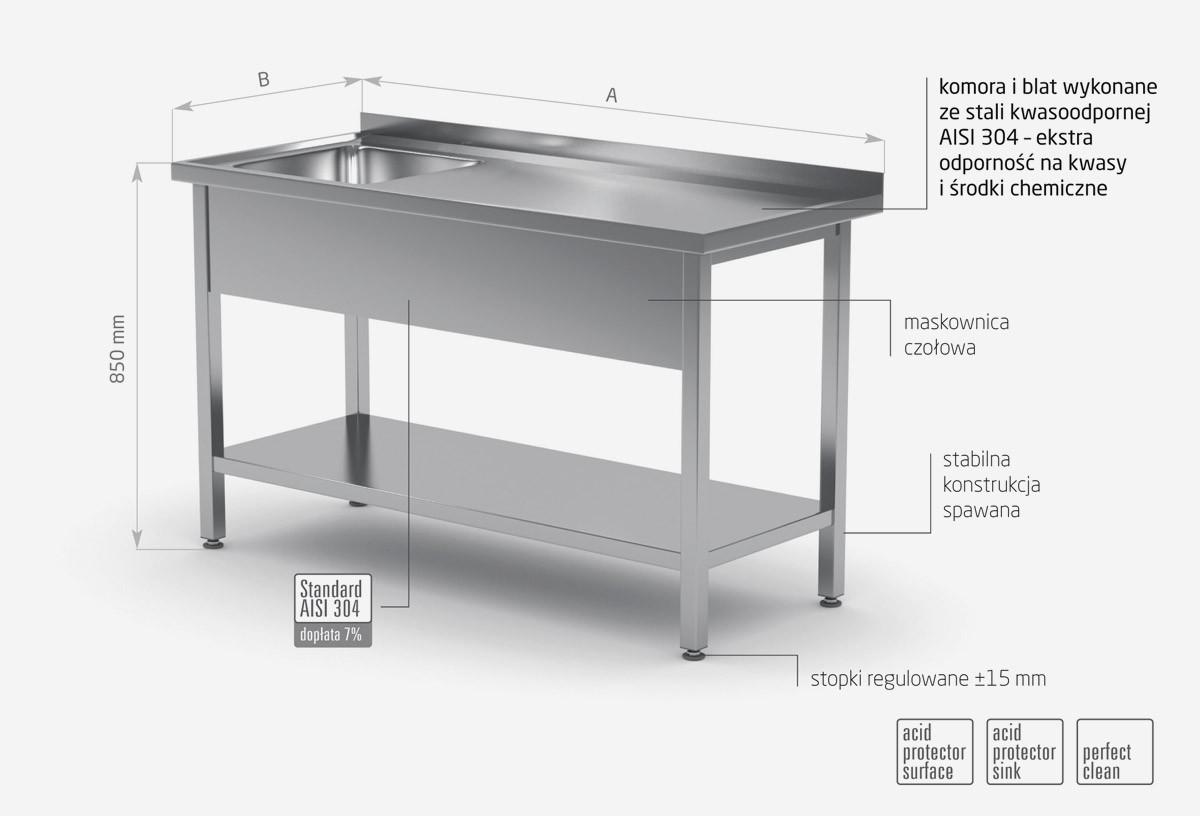 Stół ze zlewem i półką - komora po lewej stronie - POL-212-L