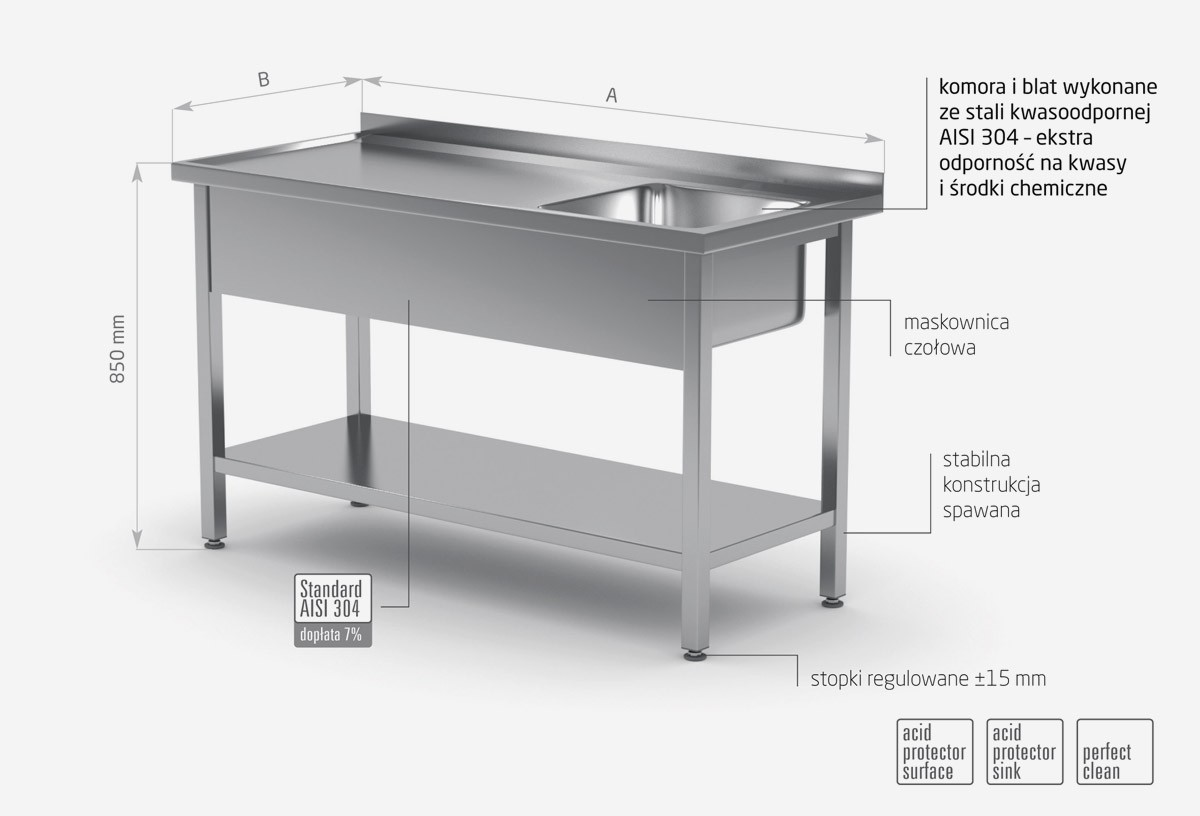 Stół ze zlewem i półką - komora po prawej stronie - POL-212-P