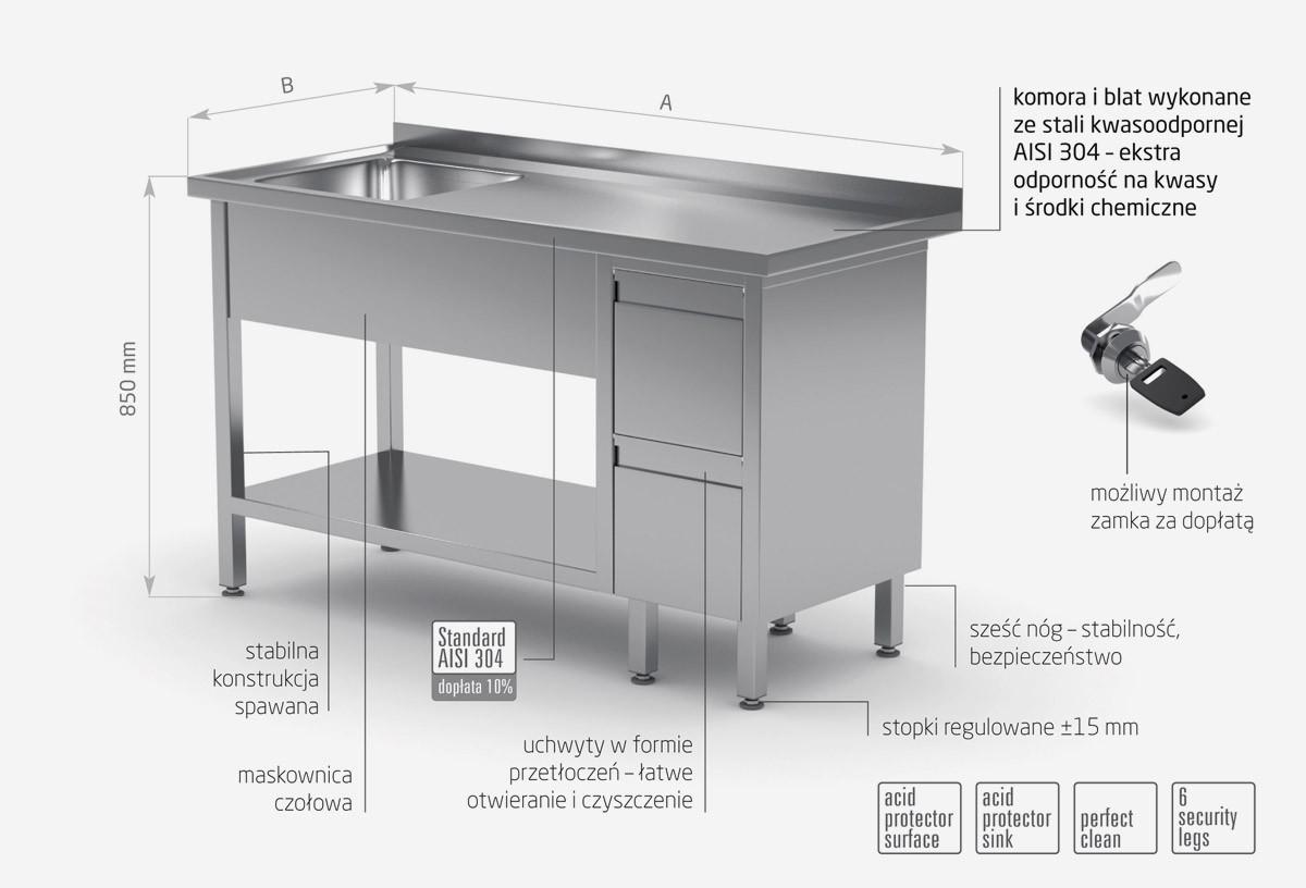 Stół ze zlewem, półką i szafką z dwiema szufladami - komora po lewej stronie - POL-215-L