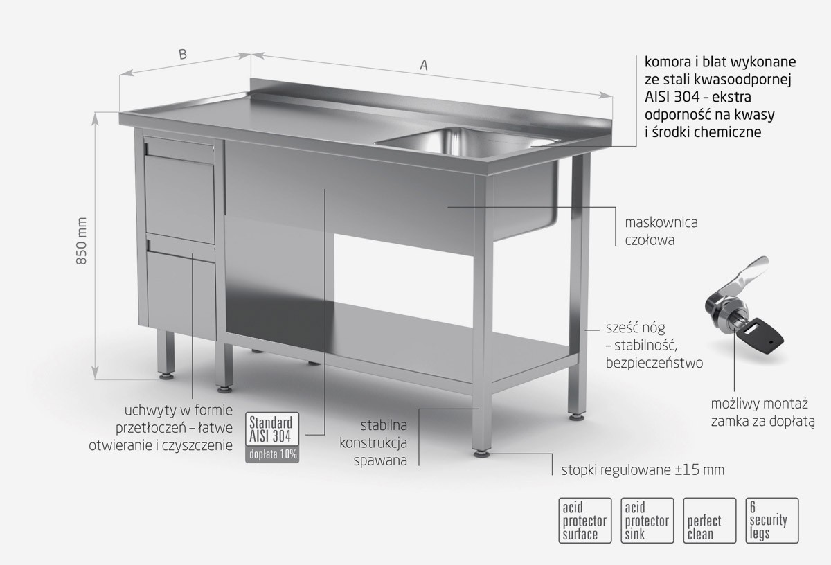 Stół ze zlewem, półką i szafką z dwiema szufladami - komora po prawej stronie - POL-215-P