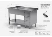 Stół ze zlewem, półką i szafką z trzema szufladami - komora po lewej stronie - POL-215-3-L