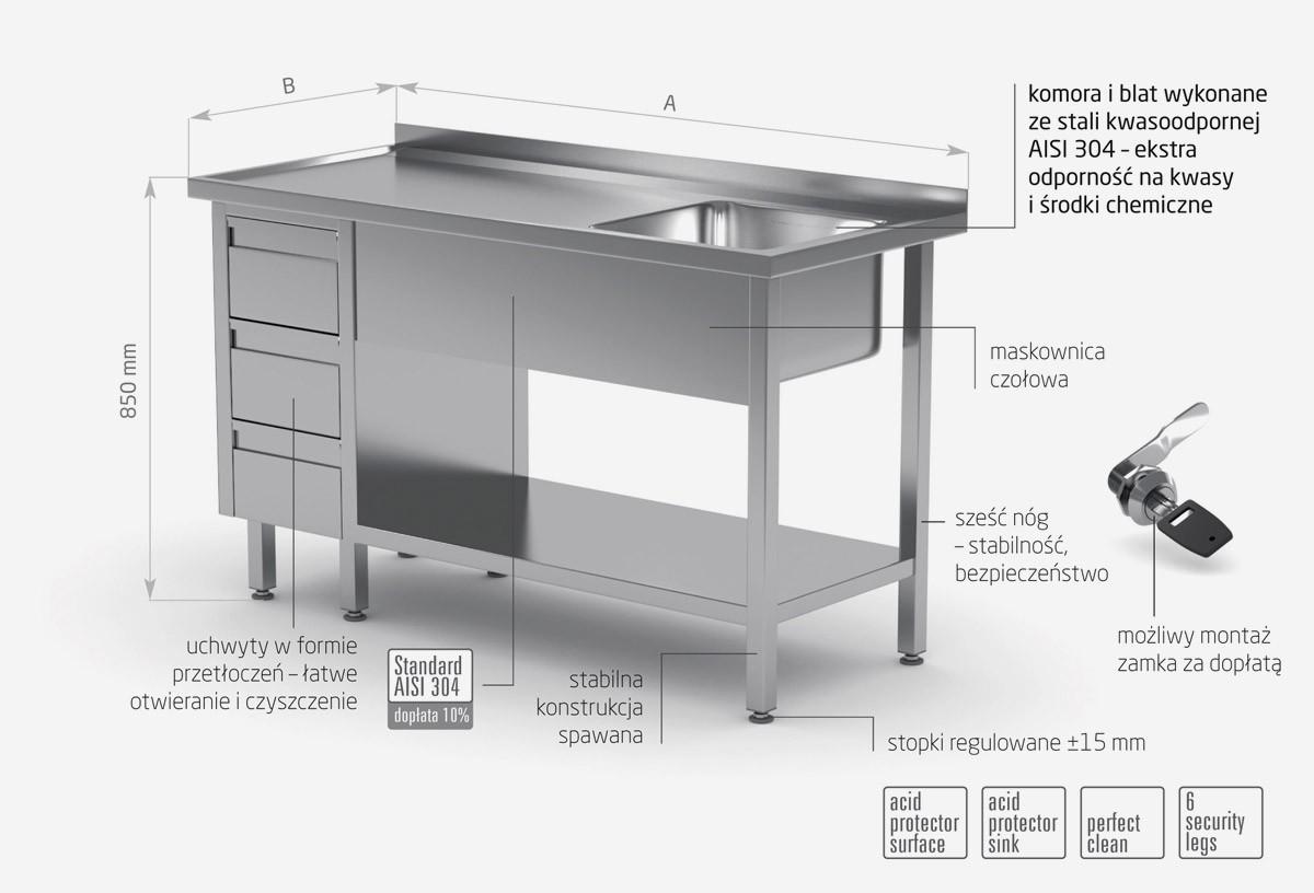 Stół ze zlewem, półką i szafką z trzema szufladami - komora po prawej stronie - POL-215-3-P