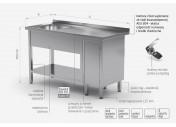 Stół ze zlewem, półką i szafką z drzwiami na zawiasach - komora po lewej stronie - POL-216-L