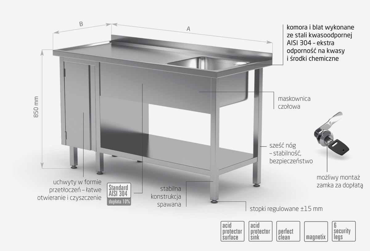 Stół ze zlewem, półką i szafką z drzwiami na zawiasach - komora po prawej stronie - POL-216-P